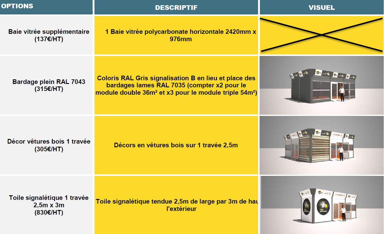 Options espaces receptifs stand INTERMAT